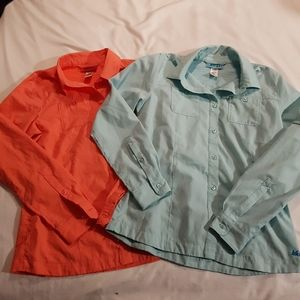 2 REI girls 14/16 shirts coral & teal mark on tag